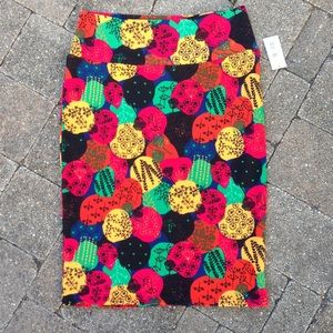 NWT Cassie Pencil Skirt LuLaRoe Abstract Bright